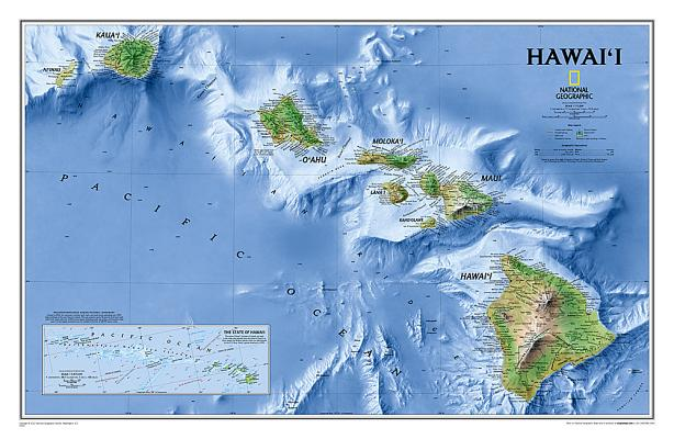 National geographic united states classic wall map laminated 36 national geographic hawaii wall map laminated 3475 x 2275 inches publicscrutiny Gallery